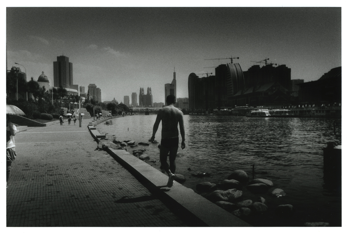 """ a man in the riverside ""  Tianjin China  Darkroom print / film: Lucky film SHD100 B&W , paper: Ilford MG4RC8x10 / camera: Leica M4P + Leica Elmar 35mm F3.5"